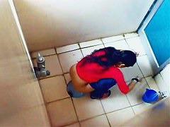 Indian ladies filmed on spy cam in a public toilet