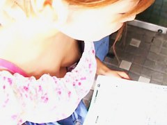 Cute asian babe with small tits on down blouse video