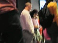 Brunette wife is filmed for an upskirt video
