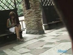 Hot brunette japanese babe got top sharking in public