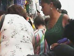 A spy cam upskirt video of an unwarned hot ebony girl