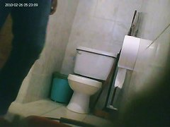 Hidden toilet cam catches chubby Latina chick pissing