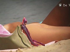 A fascinating nude beach voyeur video