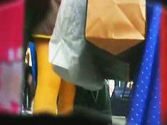 shuffling ass brown short dress upskirt loveliest of bum cheeks