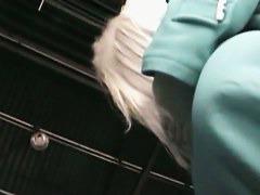 fantastic long hair blonde upskirt in a gorgeous short blue dress