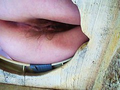 wow big fanny pissing on the wooden made up toilet big splash