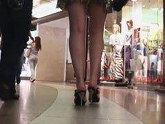 glamorous and very shaggable lepard print upskirt in high heels
