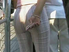 perfectly shaped ass stret candid in a seriously tight stripy trousers