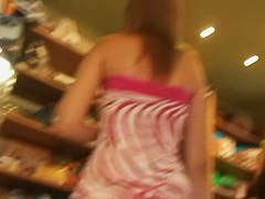 flowery dress upskirt tall and sexy chick in shops