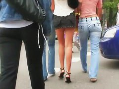 three hot and sexy lesbians upskirt holding hands in public