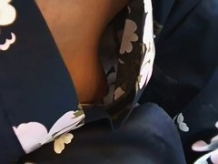 sexy downblouse of Asian chicks in geisha dresses and no bra