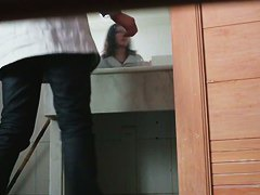 Hairy Asian pussy gets soaked by piss on voyeur toilet cam