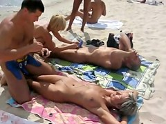 Body painting on naked beach in Kiev