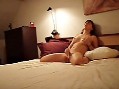 Hot brunette plays in private voyeur masturbation video