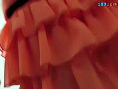 Peeking up hawt coral mini petticoat