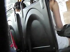 Upskirt Pure White Strap On Bus