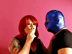 Tina Snua & Her Serf Sharing Smoky Kisses - Smokin' Fetish