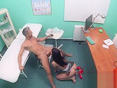 Huge tits brunette fucks doctors big cock