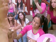 Hungry cfnm sorority teens lick dick