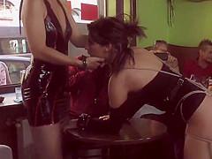 Mistress made babe gangbang in public bar