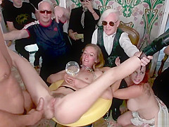 Chained blonde dragged on party for anal sex