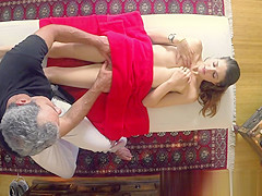Teen gets titty rub from masseur
