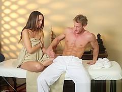 Amazing massage amateur tugging hard dick