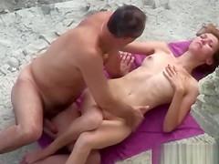 Voyeur on public beach sex in the mountains