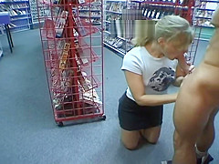 Video Store Slut Gives Excellent Blowjob On The Job Training