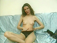 Skinny Woman Strips Before Putting Whisk In Pussy
