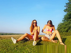 Perfect Teens Plays With Dildos Together In Nature