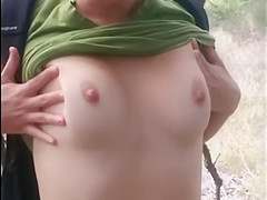 Spying on Amateur SexySpunkyGirl Stripping Outside in Public Park