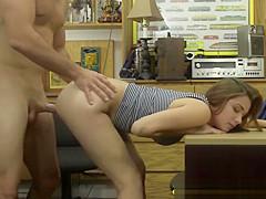 Horny Brunette Teen Slut Naomi Gets Banged In Her Heels