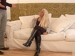 Cfnm cock gets to fuck saucy blonde pussy