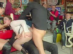 Mistress makes her slave dp fuck in public
