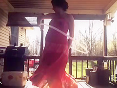 Pregnant Young Mom Emily in See through Dress on Hidden Cam