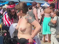 Topless By Coney Island Beach, NY - The 2019 Mermaid Parade
