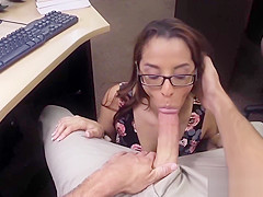 Pretty babe with glasses fucks like crazy with a broker
