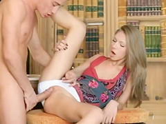 Cute Teen Couple Making Love On The Table