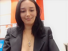 Restaurant camgirl shows all