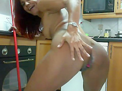 Cleaning naked the kitchen