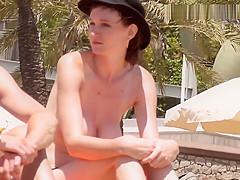 Wonderful big boobs Topless on the Beach