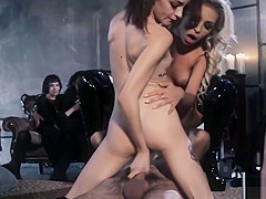 Threesome fucking with naughty hot vixens at nasty corner of the night
