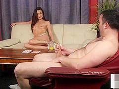 Femdom voyeur babe instructs tugging session