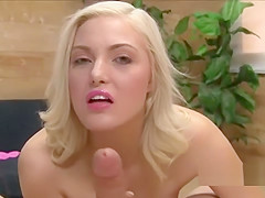 Amazing Blonde Hoe Jerks Off A Small Cock