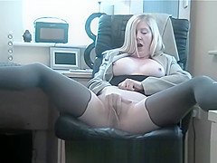 big tits slut secretary is a cock teaser in her stockings effect pantyhose fingering her cunt