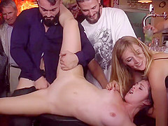 Naked shaved pussy babe fucked in public