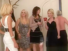 CFNM woman work together to get his dick hard for their pleasure