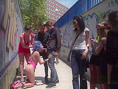 Blue haired babe fucked and disgraced in public