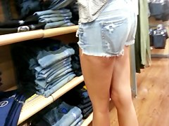 Taut Golden-Haired in Cutoffs Shopping - Candid